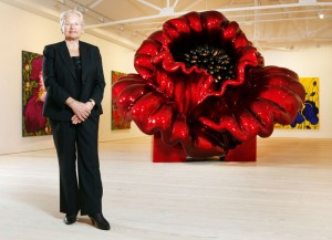 Croatian born Artist Ana Tzarev launching her exhibition at The Saatchi Gallery, London and unveiling her new sculpture Love, a 12ft high, 50-stone flower in foam and Fibreglass.The installation is the work of Croatian artist Ana Tzarev, 75, who recruited the help of yacht builders Pro Yachting of Thailand to produce it.Twenty experts worked for three months to carve the work, Love, by hand. It is one of a number inspired by a wide range of floral sources.