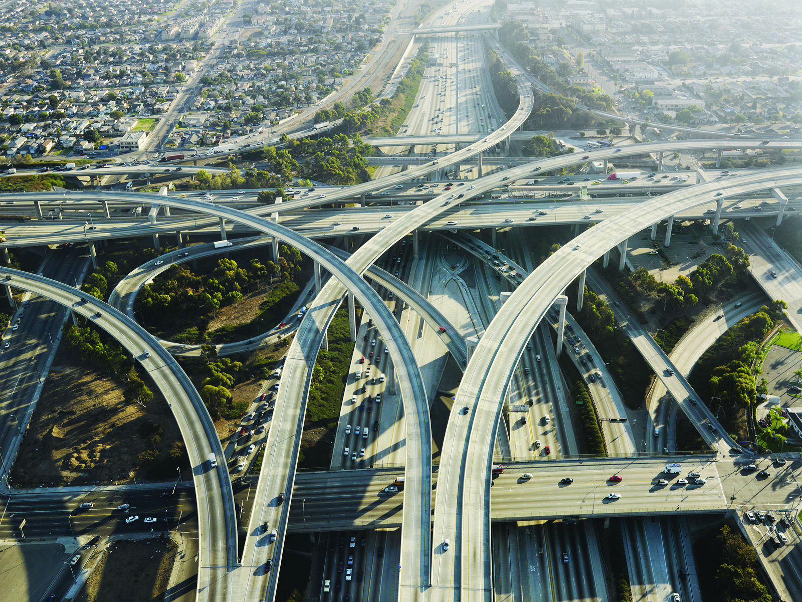 Aerial view of complex highway interchange in Los Angeles ...