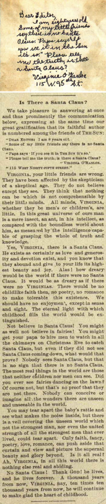 New York Sun newspaper editorial responding to Virginia O'Hanlon's question regarding Santa Claus's existance
