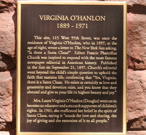 Plaque affixed to the wall on the building where Virginia O'Hanlon lived.