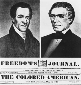 """Freedom's Journal"" editors John Russwurm (R), and Samual Cornish (L)"
