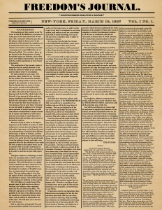 "First issue of ""Freedom's Journal,"" the first Black American Newspaper in New York."