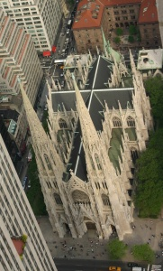 St. Patrick's Cathedral in NYC. View from the Top of the Rock Observatory at Rockefeller Center