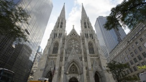 Façade of St. Patrick's Cathedral in NYC