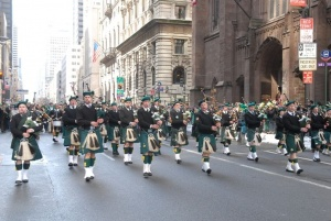 Bagpipe players at the St. Patrick's Day Parade in NYC.