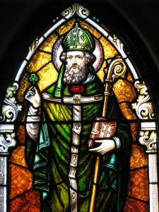 Saint Patrick stained glass window at St. Wenceslaus Church, Iowa City, Iowa.
