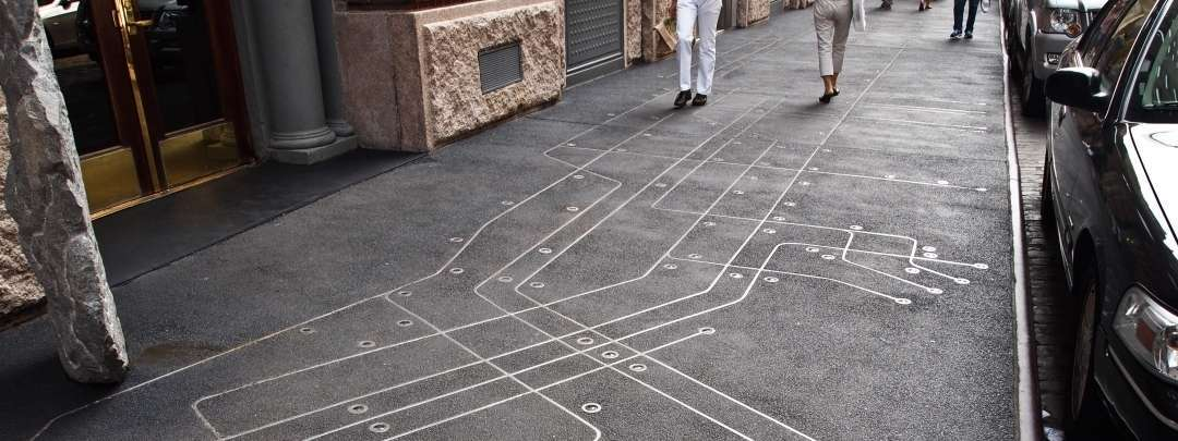 Floating on a New York Sidewalk Subway Map
